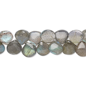 bead, labradorite (natural), 7-8mm hand-cut top-drilled puffed teardrop, b grade, mohs hardness 6 to 6-1/2. sold per 7-inch strand.