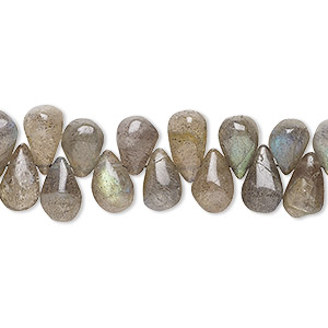 bead, labradorite (natural), 7x5mm-10x6mm hand-cut top-drilled teardrop, b grade, mohs hardness 6 to 6-1/2. sold per 9-inch strand.