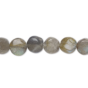 bead, labradorite (natural), 8mm hand-cut puffed flat round, c grade, mohs hardness 6 to 6-1/2. sold per 6-inch strand.