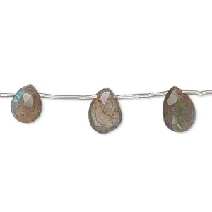 bead, labradorite (natural), 8x6mm-13x8mm top-drilled hand-cut faceted puffed teardrop, c grade, mohs hardness 6-1/2. sold per pkg of 10.