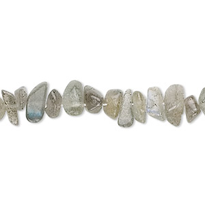 bead, labradorite (natural), small to medium hand-cut chip with 0.4-1.4mm hole, mohs hardness 6 to 6-1/2. sold per 36-inch strand.