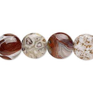 bead, laguna lace agate (natural), 12mm puffed flat round, b grade, mohs hardness 6-1/2 to 7. sold per 8-inch strand, approximately 15 beads.