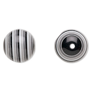 bead, laminated acrylic, black and grey and white, 20mm round. sold per pkg of 20.