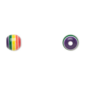 bead, laminated acrylic, opaque multicolored, 8mm round. sold per pkg of 100.