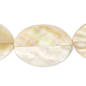 bead, laminated gold lip shell (assembled), 30x21mm-32x24mm double-sided oval, mohs hardness 3-1/2. sold per pkg of 5.