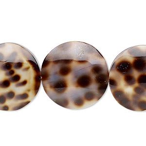 bead, laminated tiger cowrie shell (assembled), 20mm double-sided flat round, mohs hardness 3-1/2. sold per pkg of 5.