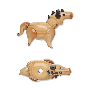 bead, lampworked glass, black / brown / dark brown, 26x17mm horse. sold per pkg of 6.