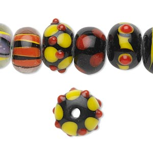 bead, lampworked glass, black / red / orange / yellow, 14x10mm rondelle. sold per pkg of 20.