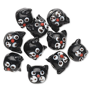 bead, lampworked glass, black / red / white, 13x13mm round cat head. sold per pkg of 10.