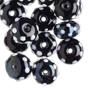 bead, lampworked glass, black and white, 13x9mm bumpy rondelle. sold per pkg of 24.