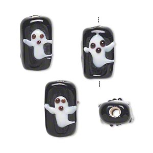 bead, lampworked glass, black and white, 16x10mm double-sided rectangle with ghost. sold per pkg of 4.