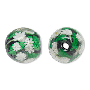 bead, lampworked glass, black and white, 21mm barrel with daisy flowers and 3.9mm hole. sold individually.