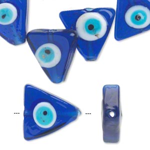bead, lampworked glass, blue and multicolored, 20x20x20mm double-sided flat triangle with wards off the evil eye design. sold per pkg of 6.