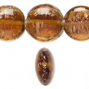 bead, lampworked glass, brown with copper-colored glitter, 20mm puffed flat round. sold per 16-inch strand.