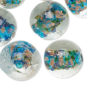 bead, lampworked glass, clear / aqua blue / dark blue with copper-colored glitter, 20mm round with swirl design. sold per pkg of 10.