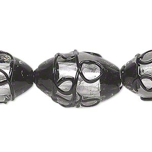 bead, lampworked glass, clear and black with silver-colored foil, 25x16mm oval with curly lines. sold per pkg of 10.