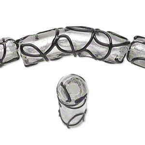 bead, lampworked glass, clear and black with silver-colored foil, 38x10mm noodle with curly lines. sold per pkg of 6.