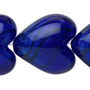 bead, lampworked glass, cobalt and bronze with silver-colored foil, 28x28mm puffed heart. sold per pkg of 4.