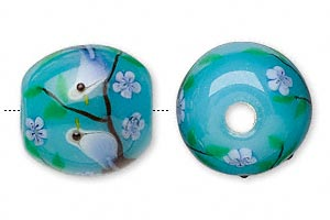 bead, lampworked glass, cream and blue, 18mm barrel with bird and 3.9mm hole. sold individually.