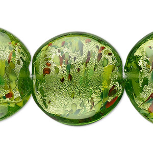 bead, lampworked glass, forest green with silver-colored foil, 28mm puffed flat round. sold per pkg of 6.