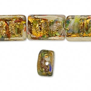 bead, lampworked glass, gold and multicolored with gold-colored foil, 18x12mm rectangle. sold per 14-inch strand.