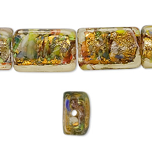 bead, lampworked glass, gold with gold-colored foil, 18x12mm rectangle. sold per pkg of 10.