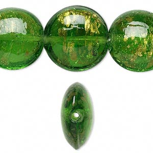 bead, lampworked glass, green with copper-colored glitter, 20mm puffed flat round. sold per 16-inch strand.