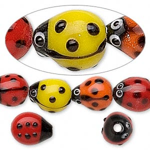 bead, lampworked glass, multicolored, 12x10mm ladybug with eyes. sold per 8-inch strand, approximately 15 beads.