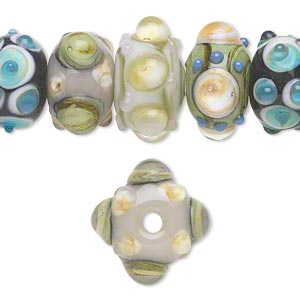 bead, lampworked glass, multicolored, 14x10mm-17x9mm bumpy rondelle with assorted designs. sold per pkg of 20.