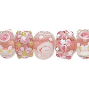 bead, lampworked glass, multicolored, 14x8mm-15x10mm bumpy rondelle with assorted flower and swirl designs. sold per pkg of 20.