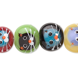 bead, lampworked glass, multicolored, 16x14mm flat round with cat, 2-2.1mm hole. sold per pkg of 5.