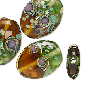 bead, lampworked glass, multicolored, 25x20mm double-sided flat oval with swirls. sold per pkg of 4.