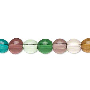 bead, lampworked glass, multicolored, 6-8mm round. sold per 15-inch strand.