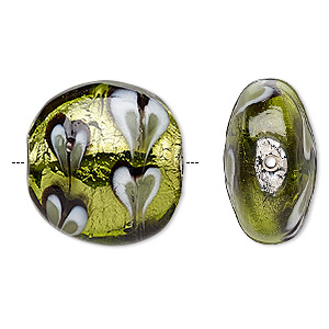 bead, lampworked glass, multicolored with silver-colored foil, 22mm double-sided puffed flat round with heart pattern. sold per pkg of 2.