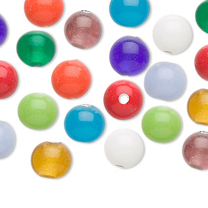 bead, lampworked glass, opaque and transparent multicolored, 8mm round with 2.3mm hole. sold per pkg of 44.