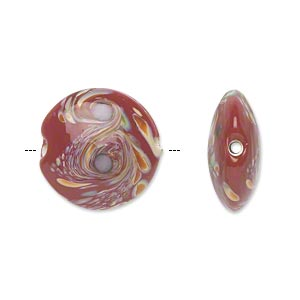 bead, lampworked glass, opaque dark red/brown/green/purple, 18mm double-sided puffed flat round with swirls. sold per pkg of 4.
