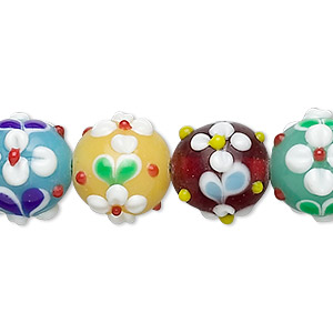bead, lampworked glass, opaque multicolored, 11mm round with flowers. sold per 16-inch strand.