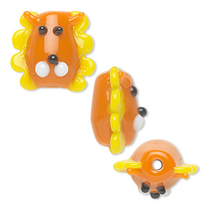 bead, lampworked glass, opaque orange and yellow, 17x16mm lion head. sold per pkg of 4.