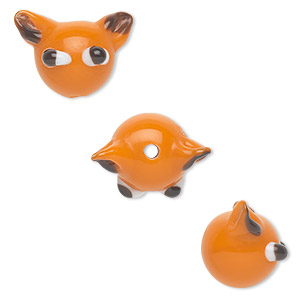 bead, lampworked glass, opaque orange/black/white, 15x14mm cat head. sold per pkg of 4.
