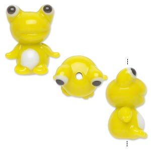 bead, lampworked glass, opaque yellow and white, 24x20mm frog. sold per pkg of 2.