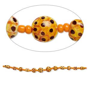bead, lampworked glass, orange / dark orange / brown, 9x9mm-14x8mm double-sided multi-shape with hand-painted spotted design. sold per 7-inch strand.