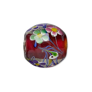 bead, lampworked glass, red and multicolored, 22x21mm barrel with flowers and birds and 3.8mm hole. sold individually.