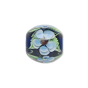 bead, lampworked glass, semitransparent blue/light blue/green, 20mm round with flowers. sold individually.