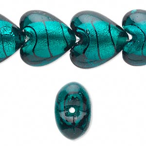 bead, lampworked glass, teal and black with silver-colored foil, 20x20mm puffed heart with lines. sold per 15-inch strand.