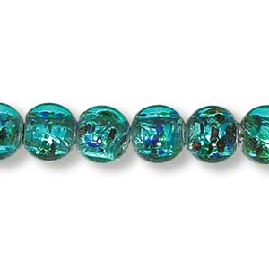 bead, lampworked glass, teal with silver-colored foil, 8mm round. sold per 16-inch strand.
