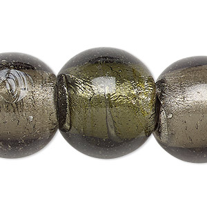 bead, lampworked glass, translucent camo green with silver-colored foil, 21-24mm round with 2-6mm hole. sold per 15-inch strand.