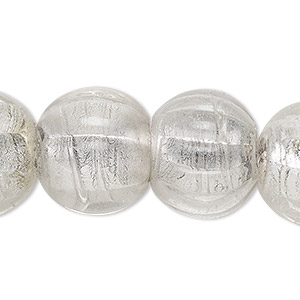 bead, lampworked glass, transparent clear with silver-colored foil, 18-21mm corrugated round with 3-6mm hole. sold per 15-inch strand.