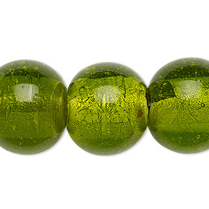 bead, lampworked glass, transparent moss green with silver-colored foil, 18-20mm round with 2-6mm hole. sold per 15-inch strand.