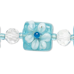 bead, lampworked glass, turquoise blue / clear / white, 8mm faceted round and 17mm double-sided flat square with raised flower. sold per 7-inch strand.