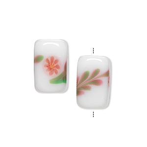 bead, lampworked glass, white/pink/green, 16x10mm double-sided rectangle with flower and leaves. sold per pkg of 2.